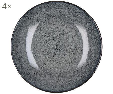 Assiette à dessert grès cérame gris foncé Mirha, 4 pièces