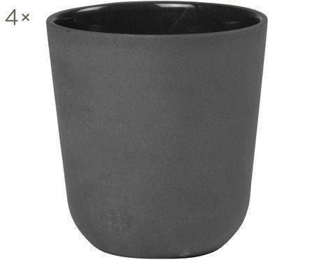 Hrnček Nudge v čiernej farbe matná/lesklá, 4 ks