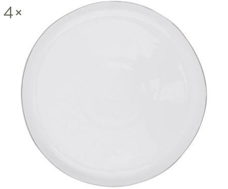 Frühstücksteller Abysse weiß/platin, 4 Stück