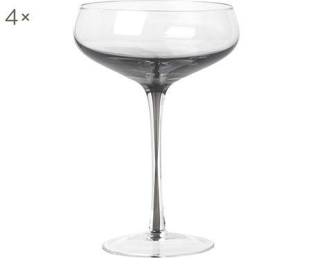 Copas pompadour de champán de vidrio soplado Smoke, 4uds.