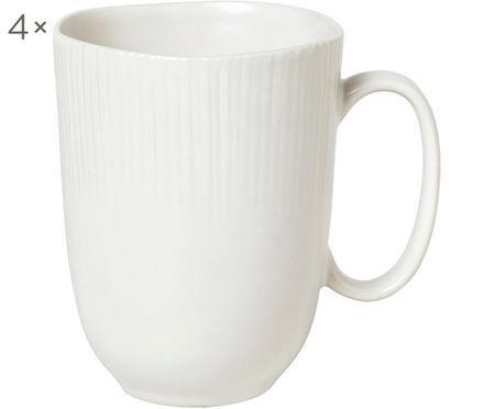 Handgefertigte Tassen Sandvig mit leichtem Rillenrelief, 4 Stück