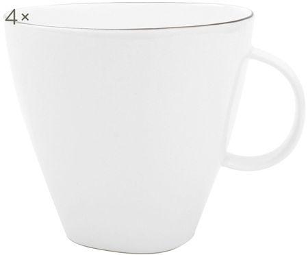 Hrnek na kávu Abysse, bílá/platinová, 4 ks