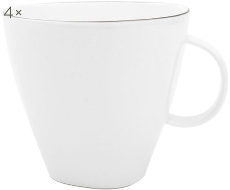 Kaffeetassen Abysse weiß/platin, 4 Stück
