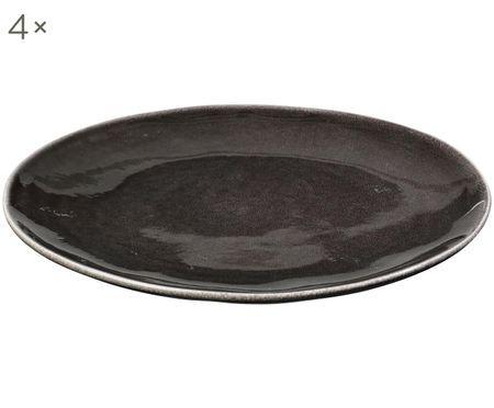 Ručne vyrobený plytký tanier Nordic Coal, 4 ks