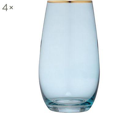 Grands verres à eau avec bordure dorée Chloe, 4 pièces