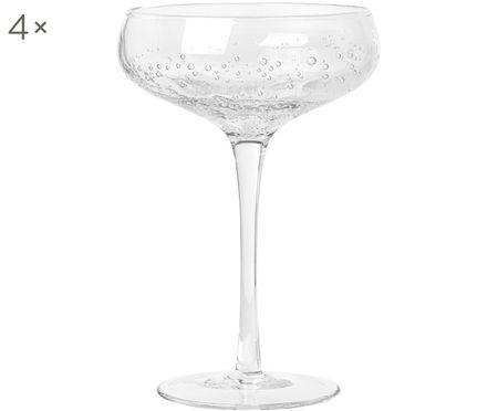 Ručne fúkané poháre na šampanské Bubble, 4 ks