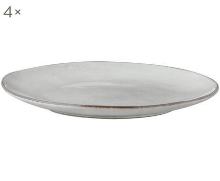 Assiettes plates faites à la main Nordic Sand, 4pièces