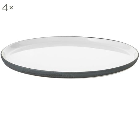 Ručně vyrobený mělký talíř Esrum, 4 ks