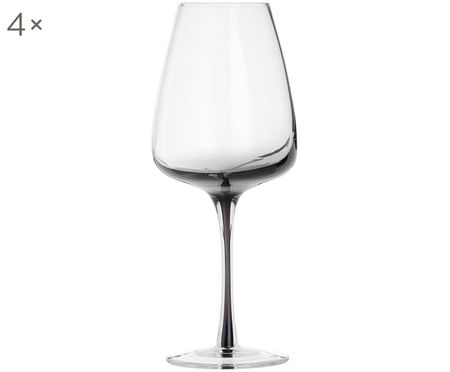 Copas de vino de vidrio soplado Smoke, 4uds.