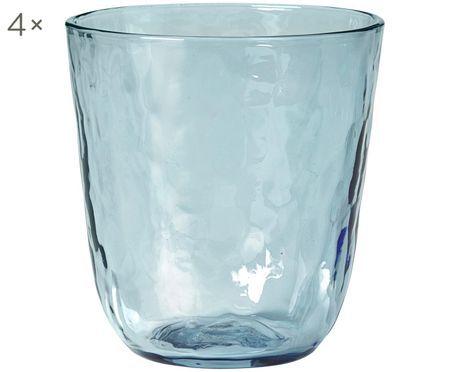 Bicchiere acqua in vetro soffiato Hammered 4 pz