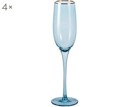Flûtes à champagne en verre teinté Chloe, 4 pièces