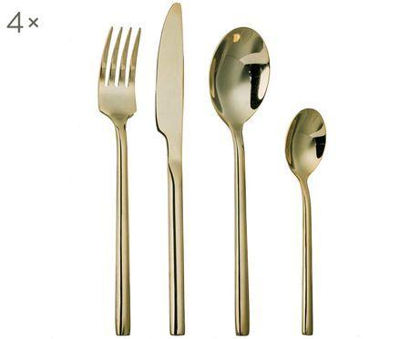 Ménagère en acier inoxydable doré Matera, 4personnes (16élém.)