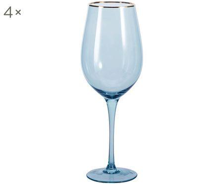 Wijnglazen Chloe in blauw met gouden rand, 4 stuks