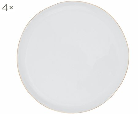 Frühstücksteller Abysse weiß/gold, 4 Stück