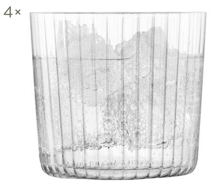 Mondgeblazen waterglazen Gio met groefstructuur, 4-delig