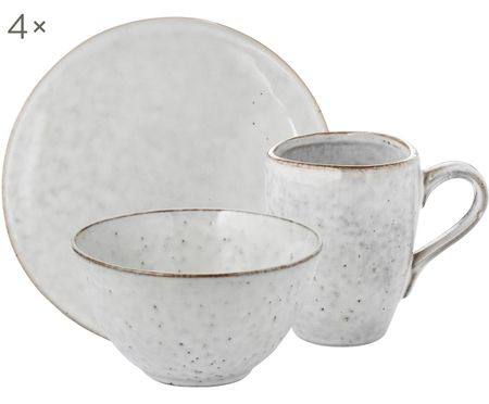 Handgemaakte ontbijtset Nordic Sand, 4 personen (12-delig)