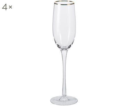 Poháre na šampanské Chloe, priehľadné so zlatým okrajom, 4 kusy