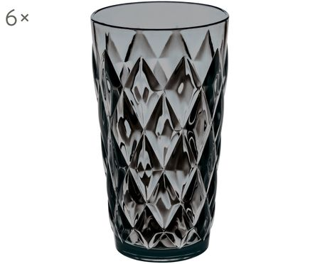 Kunststoff-Wassergläser Crystal, 6 Stück