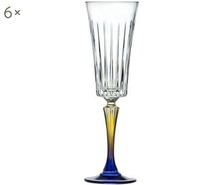 Kristall-Sektgläser Gipsy mit zweifarbigem Stiel, 6er-Set