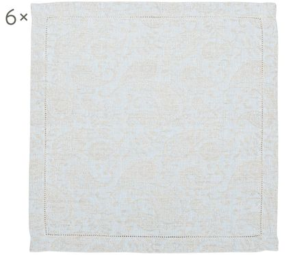 Serviettes de table en lin à imprimé paisley Agila, 6 pièces