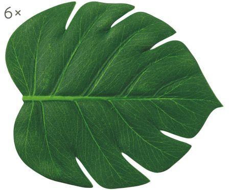 Kunststoff Untersetzer Jungle in Blattform, 6 Stück