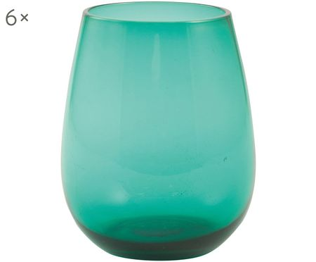 Bauchige Wassergläser Happy Hour in Grün, 6 Stück