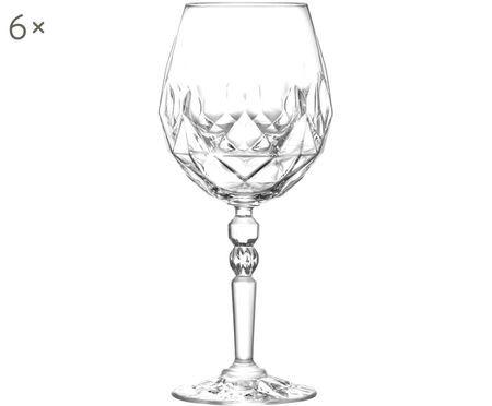 Kristall-Rotweingläser Calicia mit Relief, 6er-Set