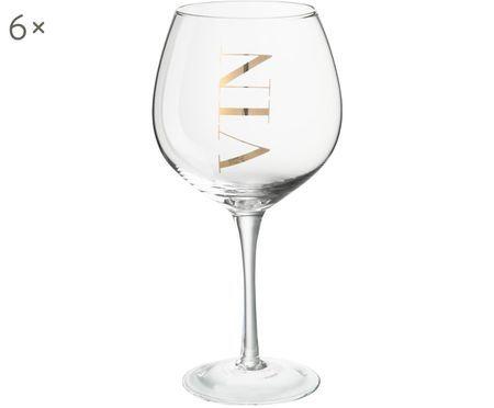 Verres à vin avec lettrage décoratif Vin, 6pièces