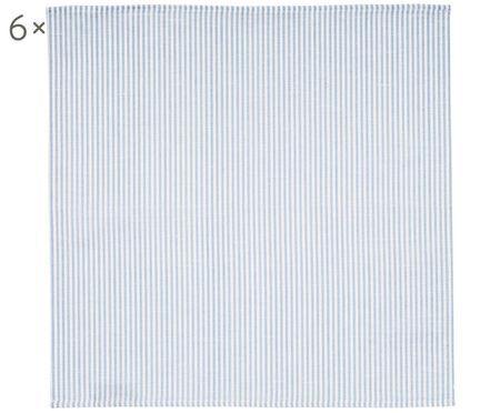 Stof-servetten strepen van halflinnen, 6 stuks