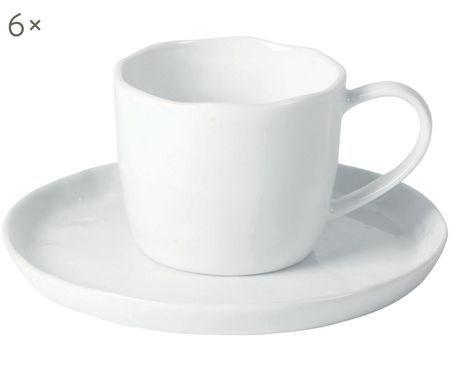 Tassen mit Untertassen Porcelino mit unebener Oberfläche, 6 Stück