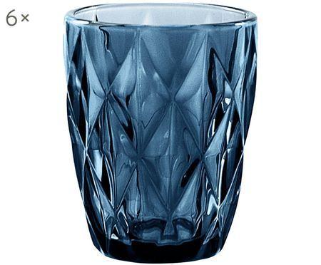 Verres à eau vintage à motifs embossés Diamant, 6pièces