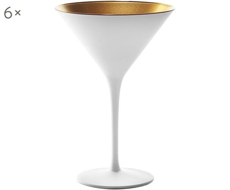 Kristallen cocktailglazen Elements in wit/goud, 6 stuks