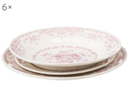 Geschirr-Set Rose, 6 Personen (18-tlg.)