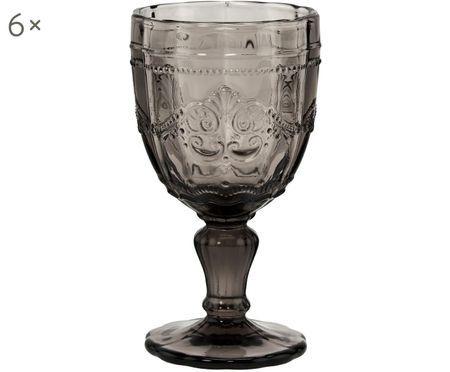 Weingläser Victorian mit dekorativem Reliefmuster, 6 Stück