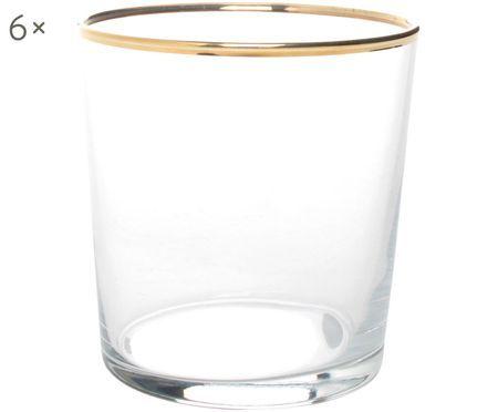 Verres à eau avec bordure dorée Elegance, 6pièces