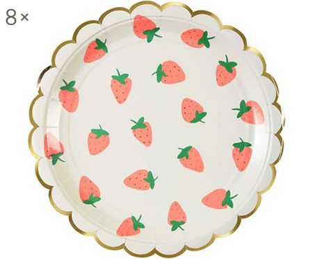 Platos de papel Strawberry, 8 uds.
