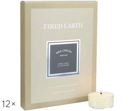 Bougies diamètre chauffe-plat Fired Earth, 12 pièces (Earl Grey & vétiver)