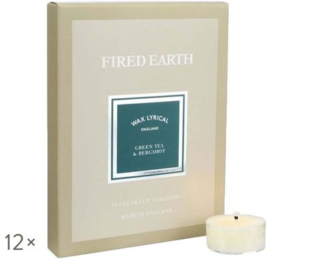 Bougies diamètre chauffe-plat Fired Earth, 12 pièces (thé vert & bergamote)