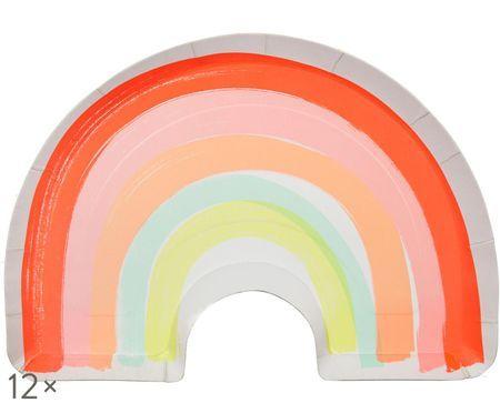 Talerz z papieru Rainbow, 12 szt.