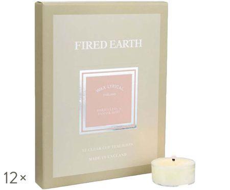 Bougies diamètre chauffe-plat Fired Earth, 12 pièces (Darjeeling & rose)