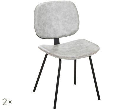 Imitatieleren gestoffeerde stoelen Liam, 2 stuks