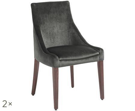 Fluwelen gestoffeerde stoel Manhattan, 2 stuks
