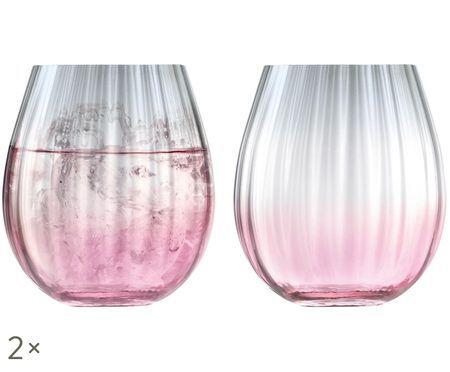 Bicchieri per l'acqua fatti a mano Dusk con struttura a gradiente e scanalatura, set di 2