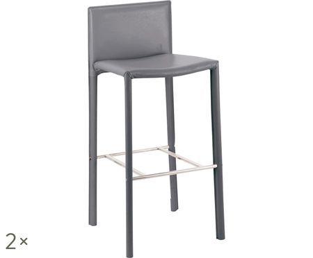 Chaises de bar en cuir synthétique Camille, 2 pièces