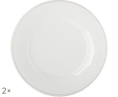 Piatto da colazione Constance in bianco, 2 pz.