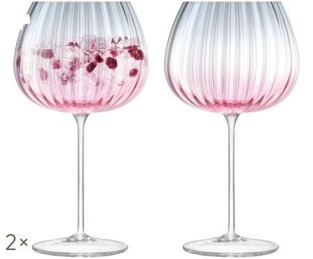 Bicchieri da vino rossi crepuscolari Dusk fatti a mano con gradiente, 2 pz.