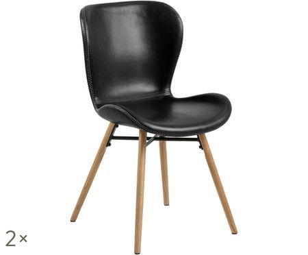 Krzesło tapicerowane ze sztucznej skóry Batilda, 2 szt.