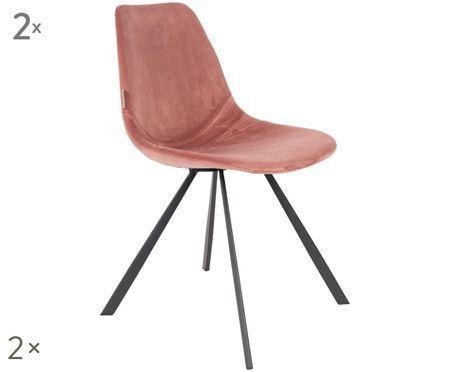 Stolička so zamatovým čalúnením Franky, 2 ks