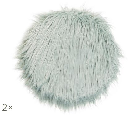 Poduszka na krzesło ze sztucznego futra Fluffy, 2 szt.