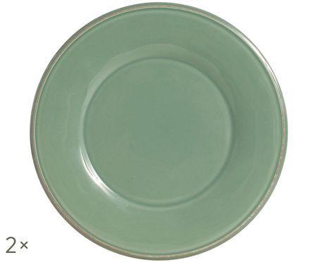 Piatto da colazione Constance in verde salvia, 2 pz.